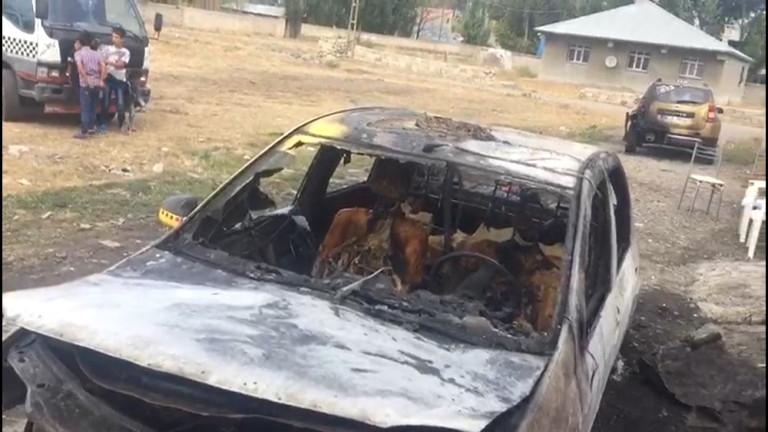 Ağrı'da İki Kardeşin Araçları Kundaklandı