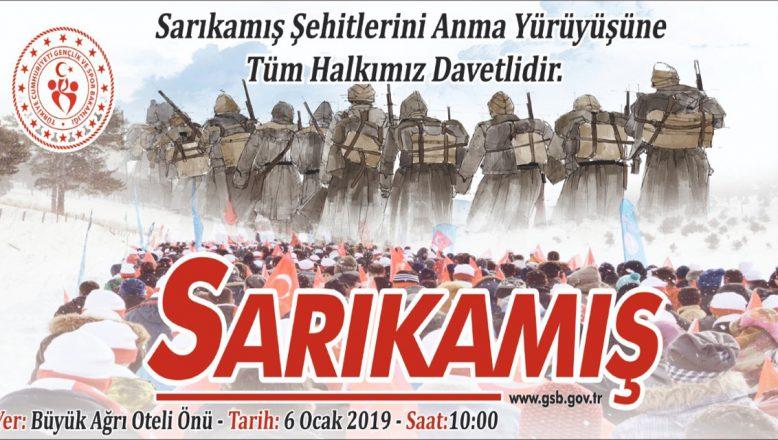 """Ağrı'da,  6 Ocak'ta """"Sarıkamış Şehitlerini Anma Yürüyüşü"""" Yapılacak"""