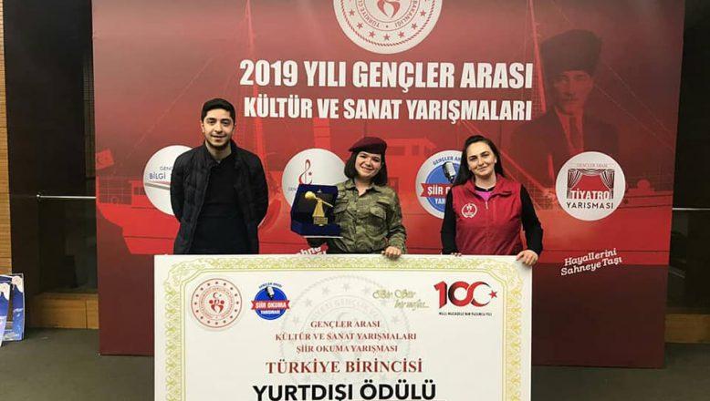 Ağrı'lı Çağla Karip, Şiir Okuma Türkiye 1.si