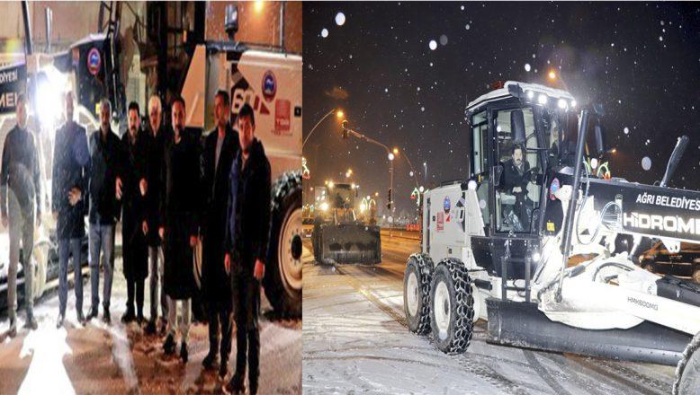"""Ağrı Belediye Başkanı Savcı Sayan'ın Gece Boyunca """"Kar Temizleme"""" Mesaisi"""