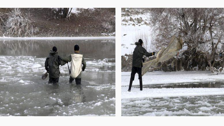 Ağrı'da buz tutan nehirde can pahasına ekmek avı