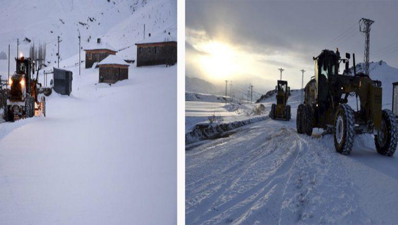 Ağrı'da kardan kapanan köy yolları ulaşıma açıldı