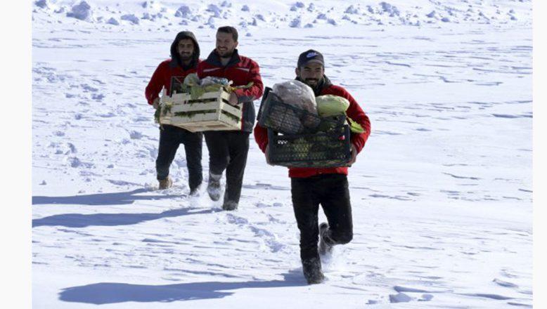 Ağrı'da dondurucu soğuklarda aç kalan yabani hayvanları unutmadılar!