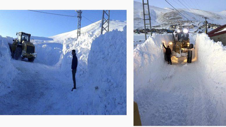 Bu köy yolunda kar kalınlığı 4 metreye ulaştı, yolu açmak için 8 saat çalıştılar