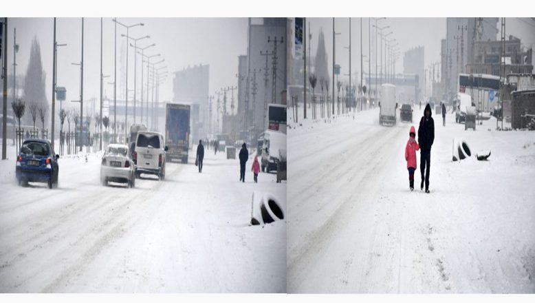 Ağrı'da yoğun kar yağışı sürücülere zor anlar yaşattı