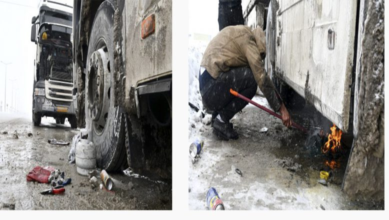 Ağrı'da dondurucu soğuklar yakıt depolarını dondurdu,tırlar yolda kaldı!