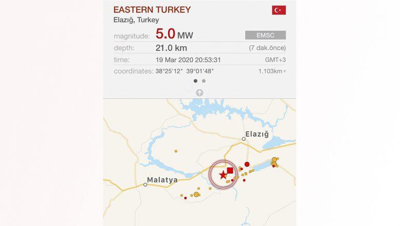 Elazığ 5 büyüklüğünde depremle sarsıldı