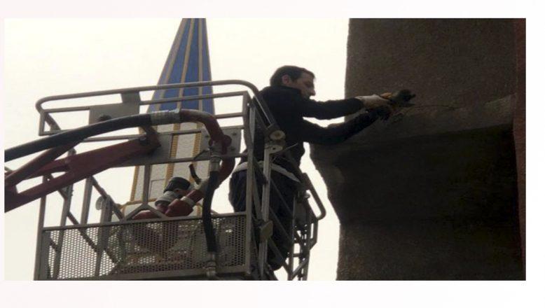 Ağrı'da tele takılan güvercini itfaiye ekipleri kurtardı