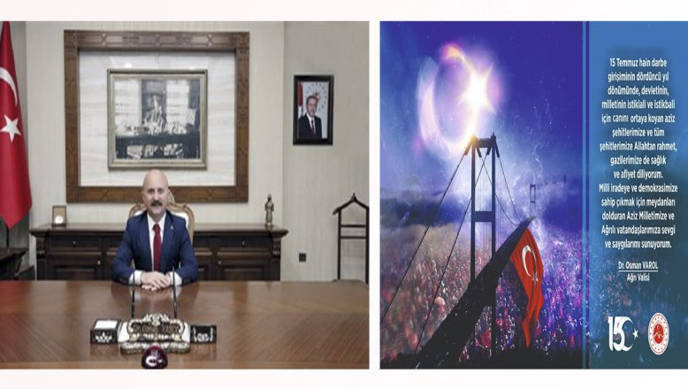 Ağrı Valisi Ağrı Valisi Dr. Osman Varol'un 15 Temmuz Demokrasi ve Milli Birlik Günü Mesajı. Osman Varol'un 15 Temmuz Demokrasi ve Milli Birlik Günü Mesajı