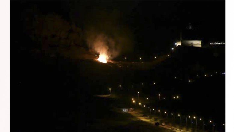 İshak Paşa Sarayı yakınında uçurulan dilek balonu yangına neden oldu