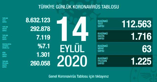 Türkiye'de son 24 saatte 1716 kişiye Kovid-19 tanısı konuldu,vaka ve vefat sayıları artıyor!