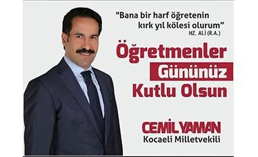 Ak Parti Milletvekili Cemil Yaman'ın 24 Kasım Öğretmenler Günü Mesajı