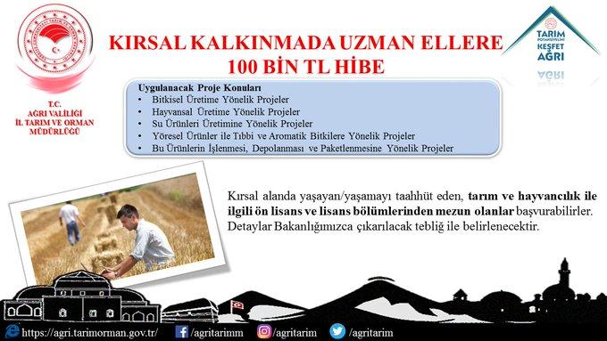 """Ağrı Tarım Ve Orman Müdürlüğü: """"Kırsal Kalkınmada Uzman Ellere""""100 Bin TL Hibe"""